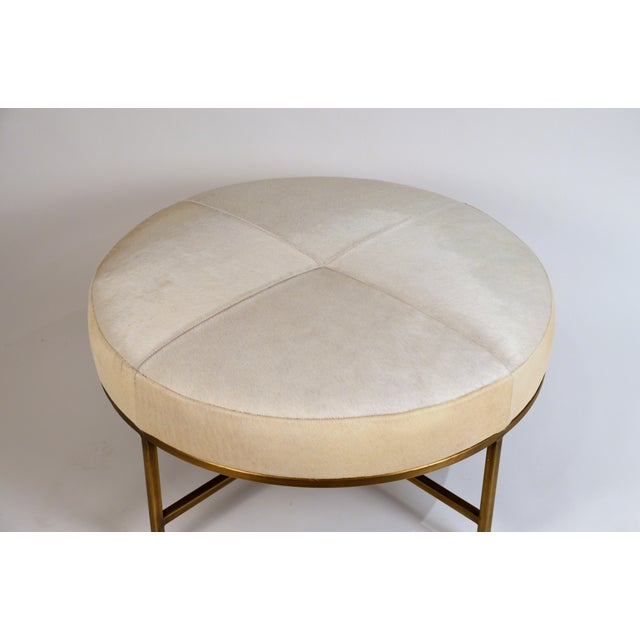 2010s Small White Hide and Patinated Brass 'Tambour' Ottoman by Design Frères For Sale - Image 5 of 9
