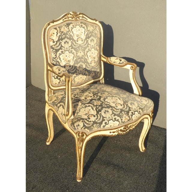 French Provincial Arm Chair With Floral Velvet Upholstery For Sale - Image 4 of 11