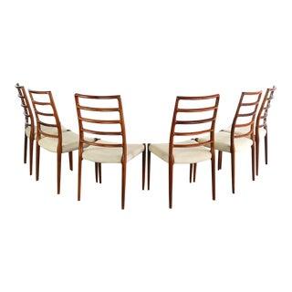 1960s Danish Modern Niels Møller No. 82 Side Chairs - Set of 6 For Sale