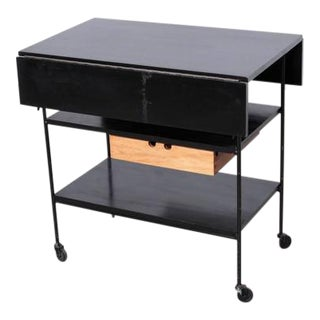 Paul McCobb Maple or Black and Wrought Iron Bar Cart Planner Group