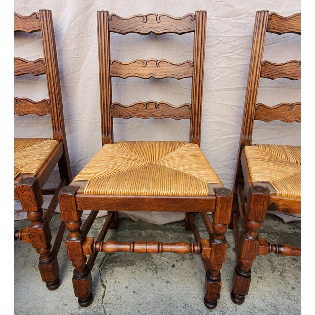 Antique Plank Solid Oak Refectory Dining Table With Set of 6 Ladderback Chairs - 7 Pieces For Sale - Image 11 of 13