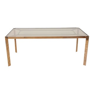 Vintage Milo Baughman Chrome and Smoked Glass Dining Table, 1970s For Sale