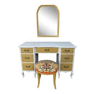 1930's French Country Vanity With Matching Mirror and Stool - 3 Pieces For Sale