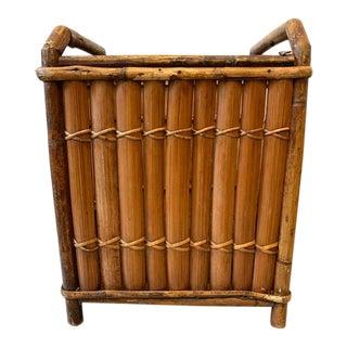 Antique Split Bamboo and Rattan Basket/Magazine Holder/Planter For Sale