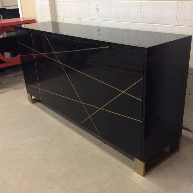 Abstract Modern History Black Lacquer and Brass Abstract Credenza For Sale - Image 3 of 12