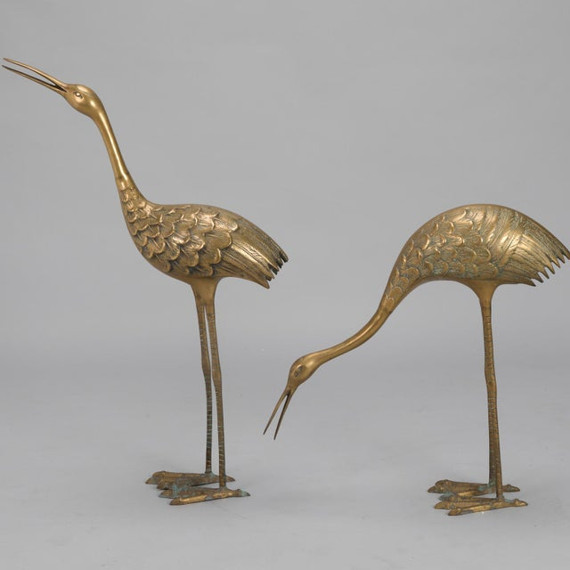 1970s Pair Mid Century Tall Brass Crane Statues For Sale - Image 5 of 10