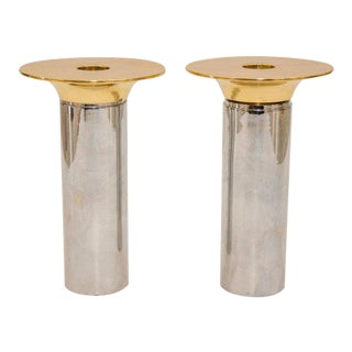 1970s Modern Chrome & Polished Brass Candle Holders Candlesticks - a Pair For Sale