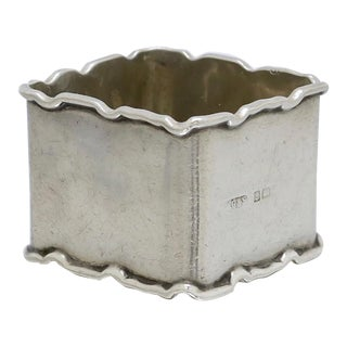 1920s Square Sterling Silver Napkin Ring For Sale