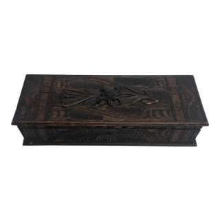 1900s Vintage German Hand Carved Black Forest Glove Box For Sale