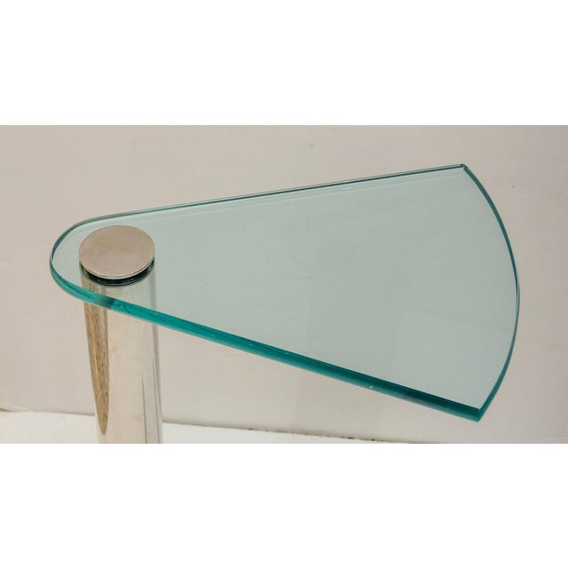 Pace Glass and Stainless Steel Drinks Table by Pace Furniture For Sale - Image 4 of 8