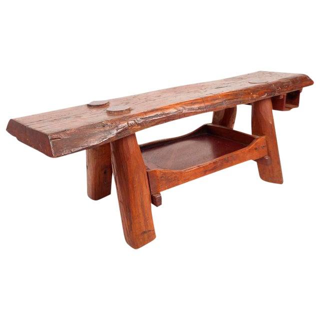 Mid-Century Modern Live Edge Cobbler Bench For Sale