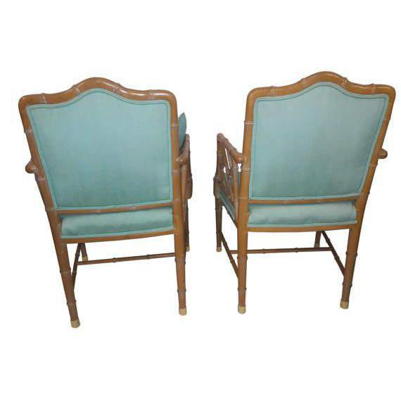 Chinese Chippendale Regency Faux Bamboo Turquoise Chairs - A Pair - Image 4 of 6