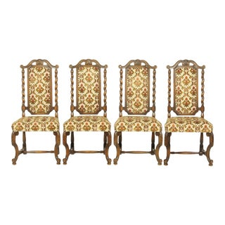 Ornate Barley Twist Dining Chairs With Floral Upholstery For Sale
