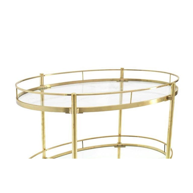 Early 20th Century Three-Tier Brass Oval Tea Serving Cart For Sale - Image 5 of 8