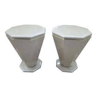 20th Century Art Deco Revival Cream Lacquer & Brass Octagonal Side Tables - a Pair For Sale