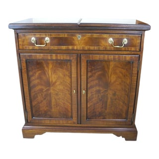 20th C Councill Craftsman Mahogany Flip-Top Mobile Server Cabinet For Sale