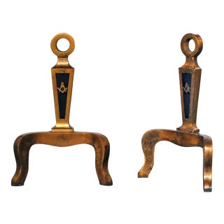 20th C. Brass Masonic Andirons - A Pair For Sale
