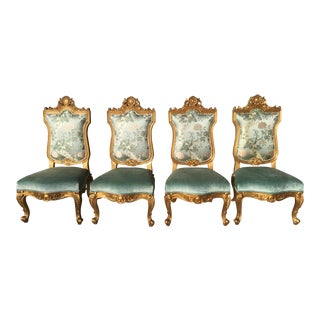 Hilda Flack Louis XIV Style Side Chairs - Set of 4 For Sale