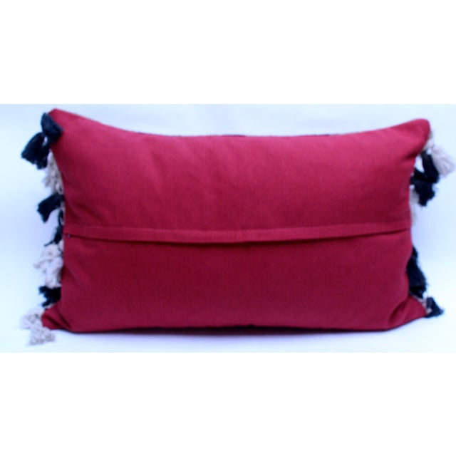 Velvet Ikat Pillow with Uzbek Tassels - Image 3 of 3