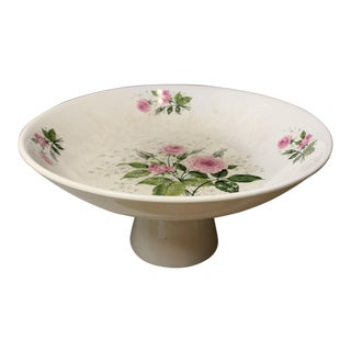 Antique White Porcelain Compote Dish With Pedestal Base and Pink Rose Pattern For Sale