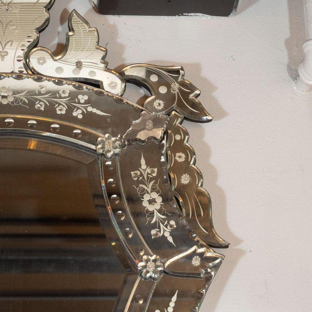 1950s Mid-Century Modern Neoclassical Venetian Cartouche Form Chain Bevelled Mirror For Sale - Image 5 of 7