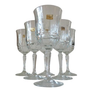 Pressed Glass Wine Goblets- Set of 6 For Sale