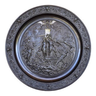 """Large 35"""" Wide Bronze Bas Relief Plaque Depicting a Medieval Coronation Scene For Sale"""