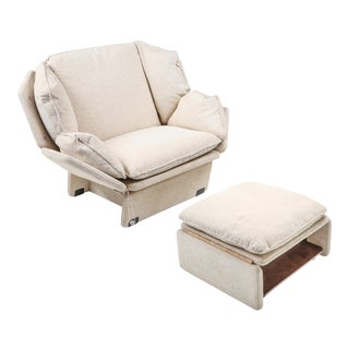1960s Saporiti Lounge Chair With Ottoman - a Pair For Sale