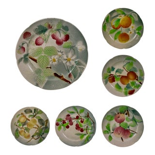 C. 1900 St. Clement French Faïence Fruit Plates, S/6 (B) For Sale