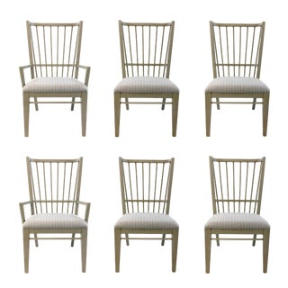 Transitional Drexel Heritage Gray Centennial Dining Chairs Set of Six For Sale