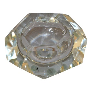 Clear Multi Faceted Murano Glass Ashtray / Bowl Attributed to Flavio Poli, Italy For Sale