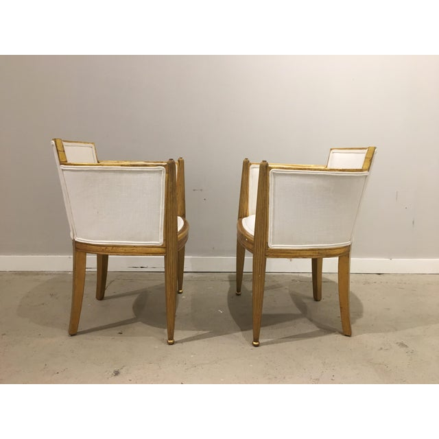 French pair of art deco gilded chairs by paul follot For Sale - Image 3 of 9