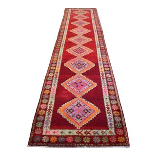 1970s Vintage Hand Knotted Tribal Kurdish Runner Rug Hallway Decor For Sale