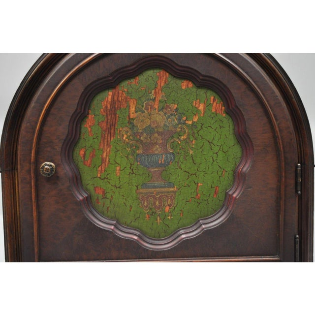 Early 20th Century Antique Depression Walnut & Green Floral Paint Decorated Cabinet Jewelry Chest For Sale - Image 5 of 12