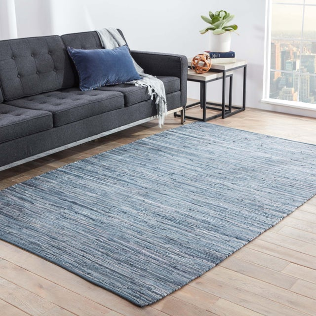 2010s Jaipur Living Raggedy Handmade Solid Blue Area Rug - 8' X 10' For Sale - Image 5 of 6