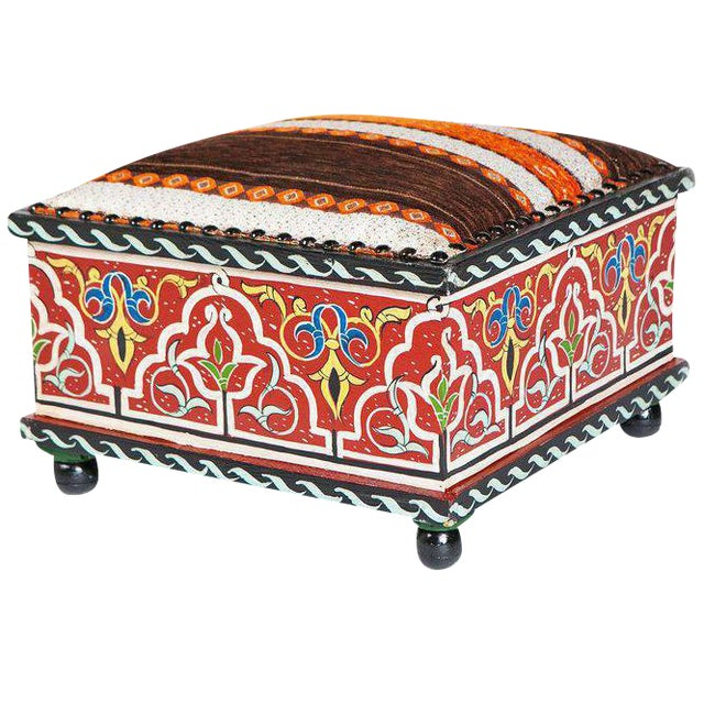 Moucharabieh Tabouret Square Painted Ottoman For Sale