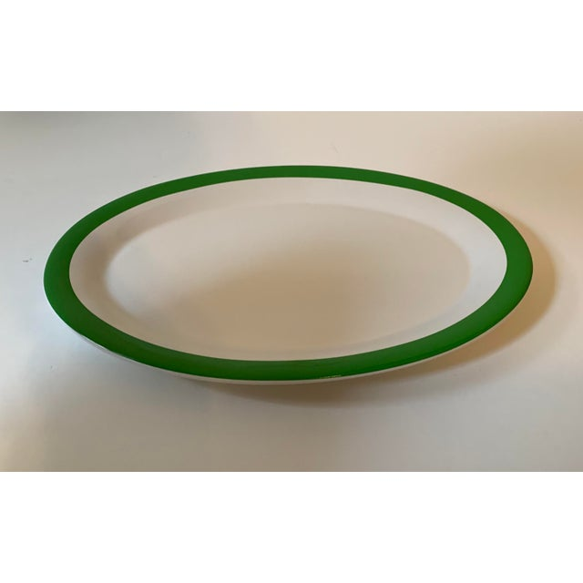 Kate Spade New York oval bone china serving dish in Rutherford Circle Green pattern by Lenox. Green border on white. Size:...