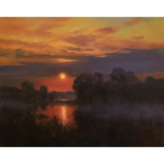 "Thomas McNickle ""At Sunset"" Contemporary Traditional Landscape Oil Painting For Sale"