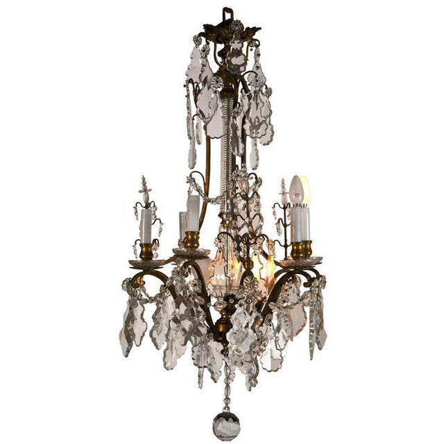 Late 19th Century Crystal and Bronze Chandelier For Sale
