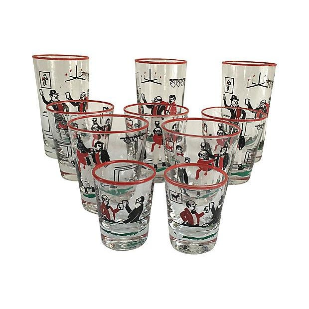 Mid-Century Illustrated Bar Glasses - Set of 10 - Image 5 of 7
