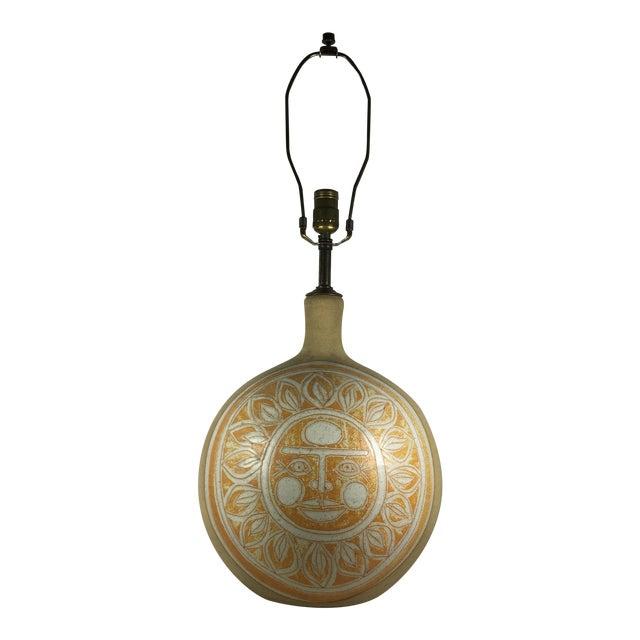 Vintage Incised Ceramic Art Pottery Lamp - Image 1 of 9
