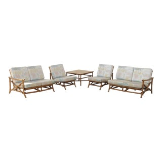 Vintage Mid Century Ficks Reed 5 Pc. Rattan Tiki Set Bamboo Sofa Table Pair Chairs For Sale