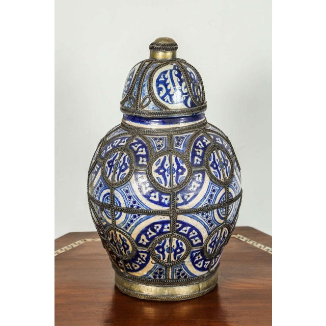 Silver Antique Moroccan Ceramic Vase From Fez For Sale - Image 8 of 8