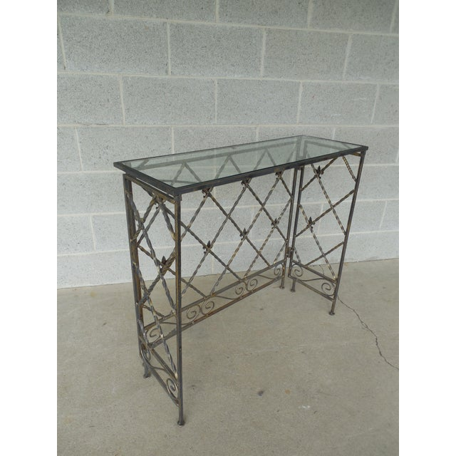 "Designer French Style Heavy Wrought Iron Glass Top Console 35""w X 12""d For Sale In Philadelphia - Image 6 of 13"