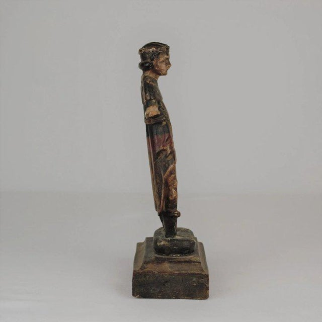 Figurative 19th Century Carved Wood Youth For Sale - Image 3 of 13