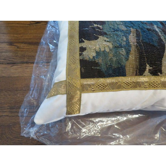 2010s 18th Century Verdure Tapestry Pillow For Sale - Image 5 of 8