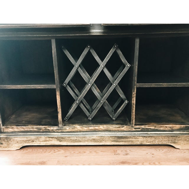 Wood Black Distressed Bistro Coffee Bar Hutch Cabinet For Sale - Image 7 of 11