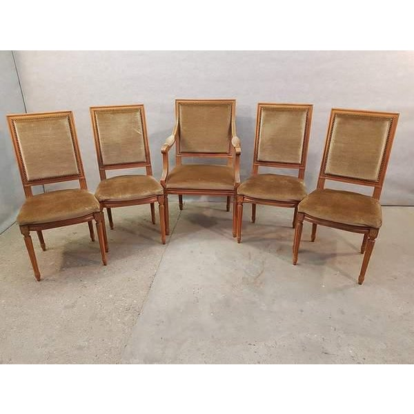 Brown Set of Five French Louis XVI Square Back Vintage Dining Chairs 4 Side Chairs and 1 Armchair For Sale - Image 8 of 13