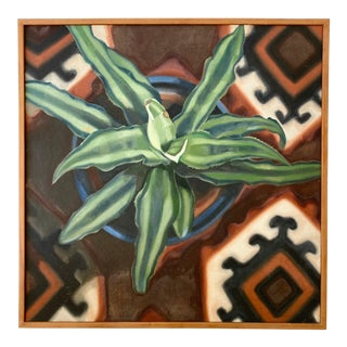 Vintage Mid-Century Still Life Painting With Agave and Kilim For Sale