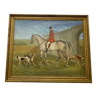 1960s Hunt Scene Oil on Canvas For Sale